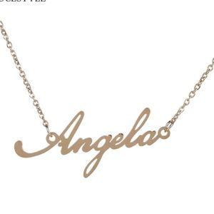 3/$30 Angela Gold Name Nameplate Necklace